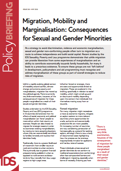 Migration, Mobility and Marginalisation: Consequences for Sexual and Gender Minorities