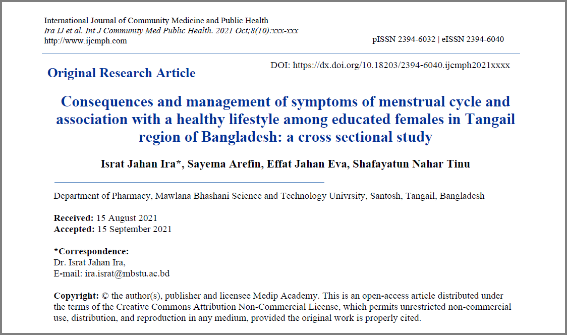 A cross sectional study on the menstrual cycle and association with healthy lifestyles of women in the Tangail region of Bangladesh